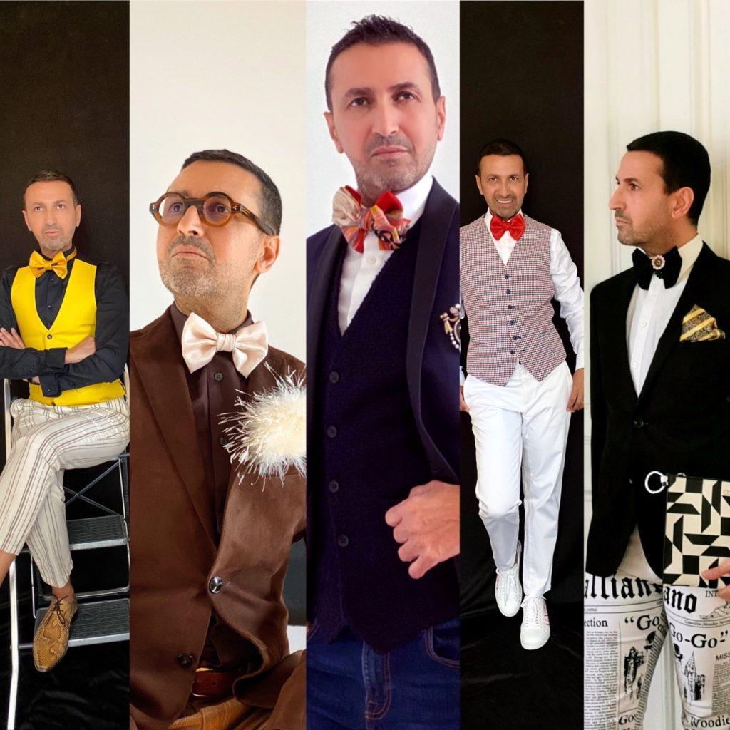 Différentes photos et différentes tenues pour hommes où le noeud papillon est mis en valeur. Il porté de plusieurs façons en crayant des styles tous originaux.