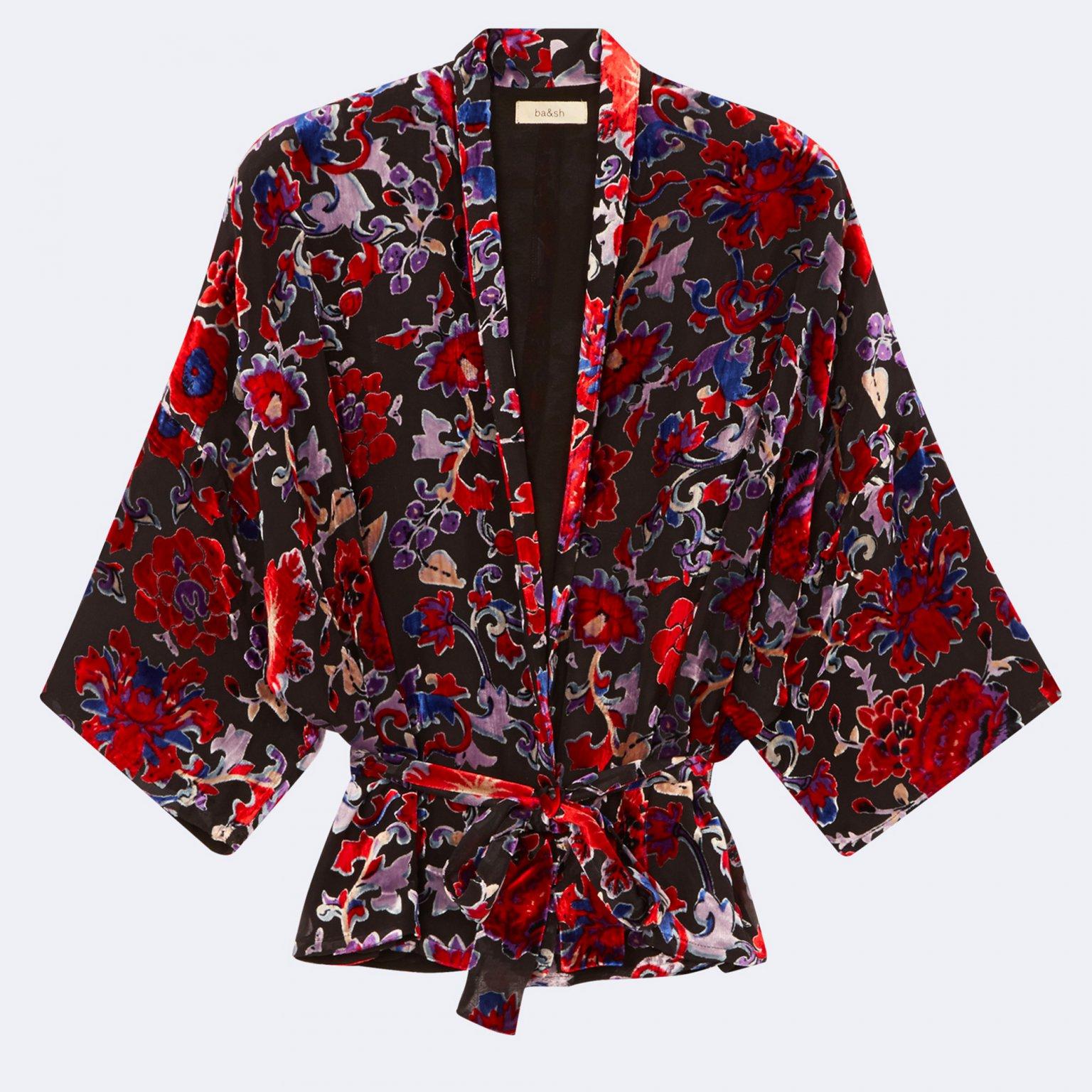 Une veste Kimono en velours brillant à motifs de chez Ba&sh