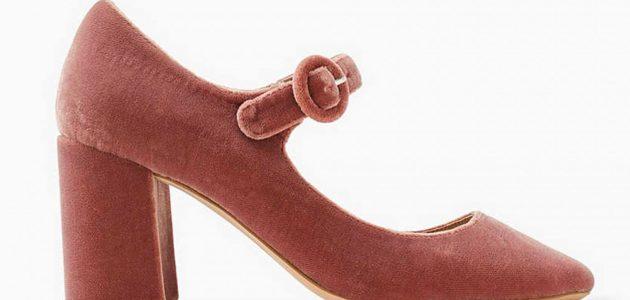 Des chaussures Esprit en velours aux talons larges et pas tres hautes