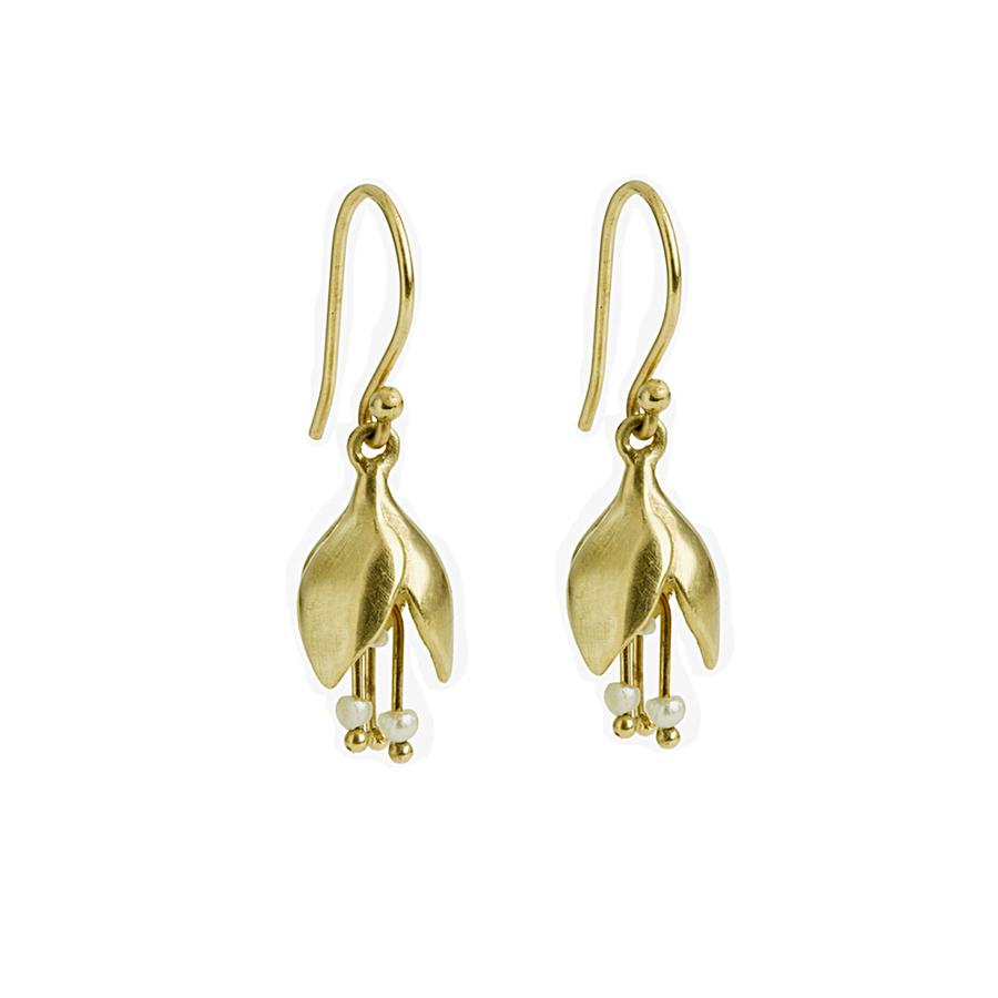 Boucle d'oreille clochette d'or jaune avec trois petites perles blanches