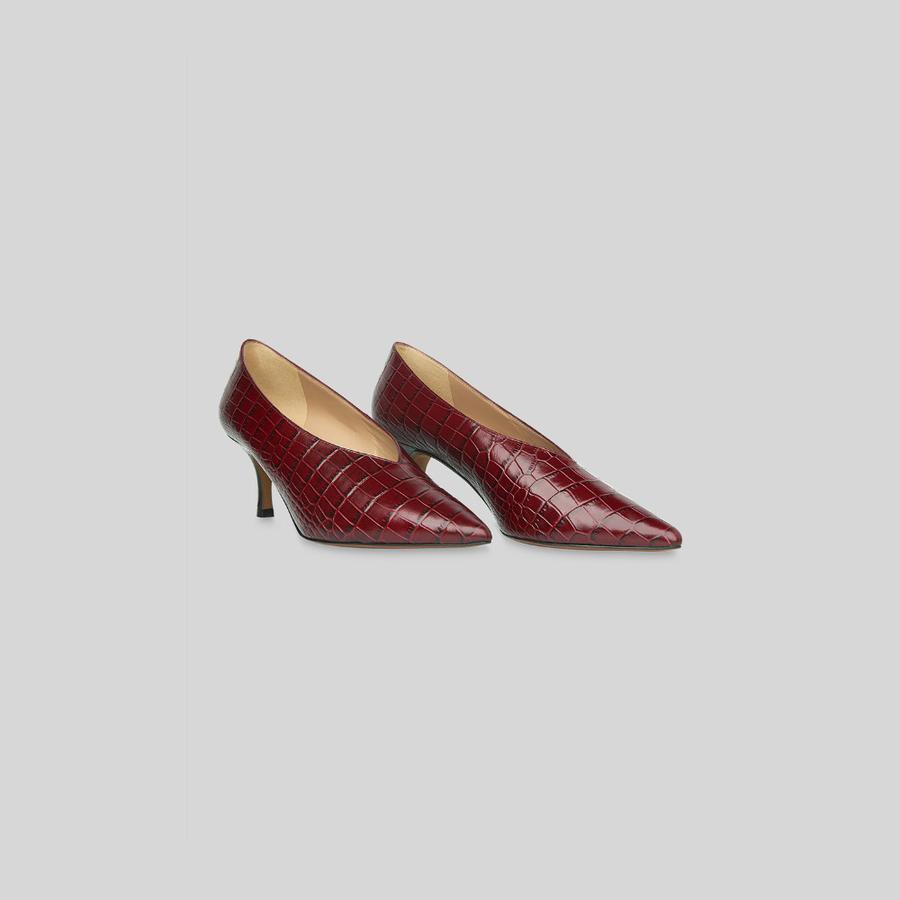 Les chaussures de la rentrée 2018 - Whistles Escarpins décolletés effet croco, Whistles, 177 € environ.