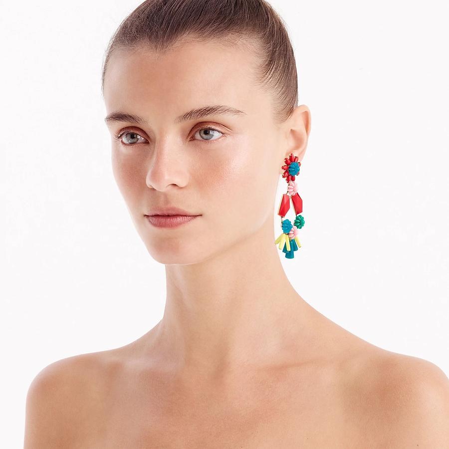 Boucles d'oreilles XXL, tendance extravertis en rouge corail, paillettes et pompons infinis