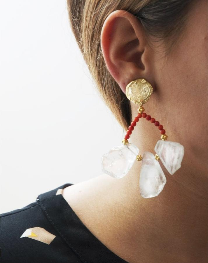 Boucles d'oreilles XXL, tendance extravertis en rouge corail, paillettes et pompons infinis)