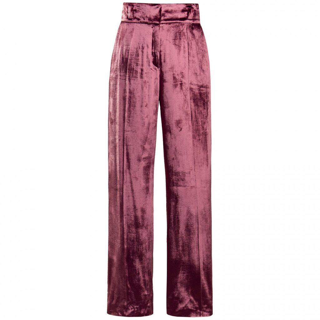 Un pantalon Zalando en velours vieux rose coupe taille haute